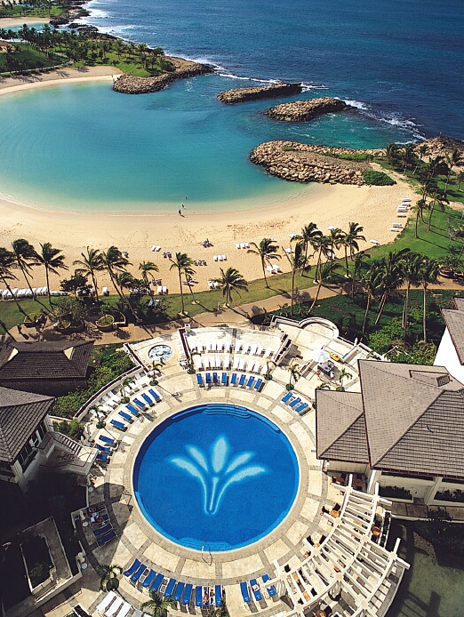The Marriott Ihilani Hotel Has A Beautiful Pool With Tile Mosaic Of Logo